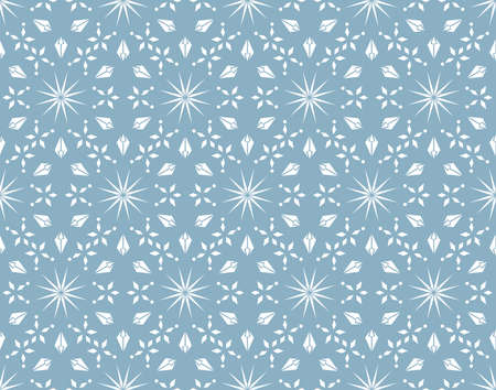 Abstract geometric pattern with lines, snowflakes. A seamless background. White and blue texture. Graphic modern pattern