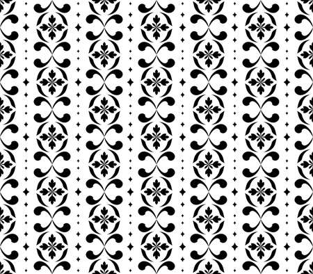 Flower geometric pattern. Seamless background. White and black ornament. Ornament for fabric, wallpaper, packaging. Decorative print Stock fotó