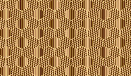 Abstract geometric pattern with stripes, lines. Seamless background. Gold and dark brown ornament. Simple lattice graphic design Stock fotó