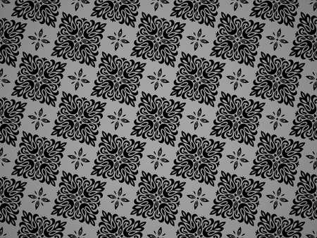 Flower geometric pattern. Seamless background. Black ornament. Ornament for fabric, wallpaper, packaging. Decorative print Stock fotó