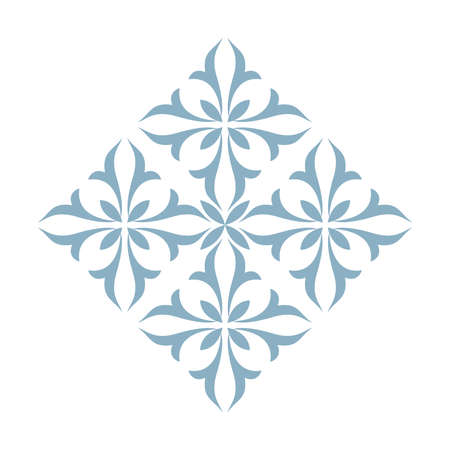 Damask graphic ornament. Floral design element. Blue pattern