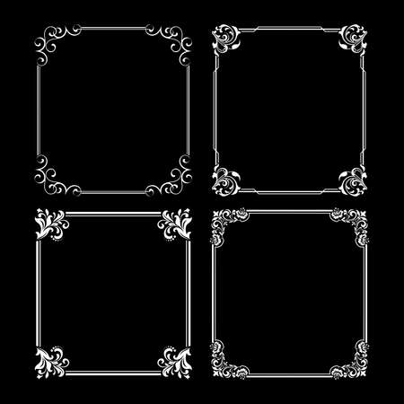 Set of decorative frames Elegant vector element for design in Eastern style, place for text. Floral black and white borders. Lace illustration for invitations and greeting cards Illusztráció