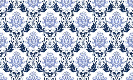 Floral pattern. Vintage wallpaper in the Baroque style. Seamless vector background. Black and blue ornament for fabric, wallpaper, packaging. Ornate Damask flower ornament