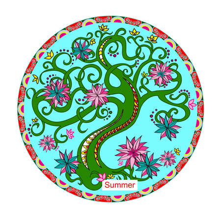 Decorative tree inscribed in a circle. Blooming tree. Circle with decorative frame