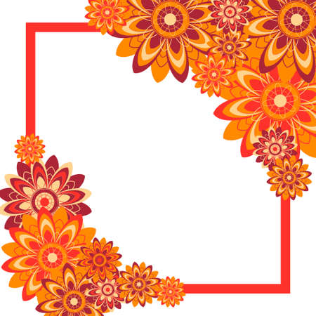 abstract flowers: Frame of flowers. Vector flowers.An abstract design layout with floral motifs. Abstract flowers. Flowers vector. Illustration