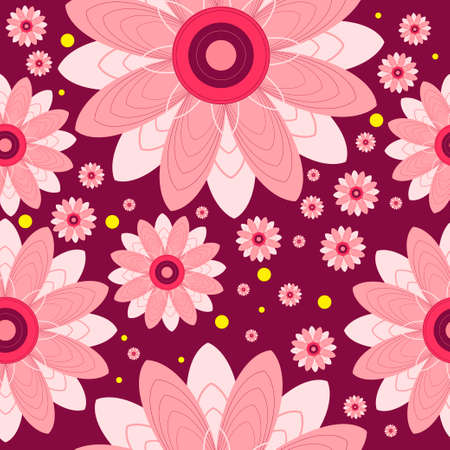 burgundy: Seamless pattern of flowers and circles. flowers on burgundy background