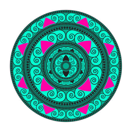 Mandala geometric round ornament, circular abstract pattern. Illustration