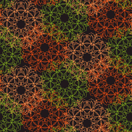 Bright seamless lace pattern on a dark background. Style mandala pattern in vintage design