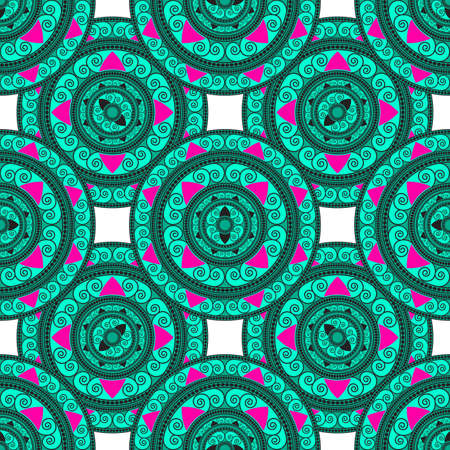 laced: Seamless geometric pattern in the Oriental style. A circular ornament. Vector background. Illustration