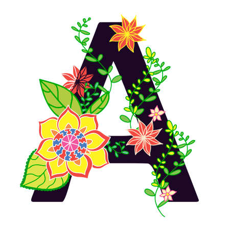 letras negras: The letter A in the flowers and leaves in the style doodle isolated on a white background. Hand drawn illustration. Alphabet