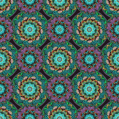 Seamless patchwork pattern from colorful oriental tiles. Ornaments can be used for wallpaper, pattern fills, web page background,surface textures.