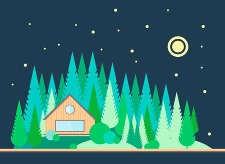 blockhouse: The wooden house on the edge of the pine forest. Night landscape with the moon and stars in style flat. Taiga. Illustration