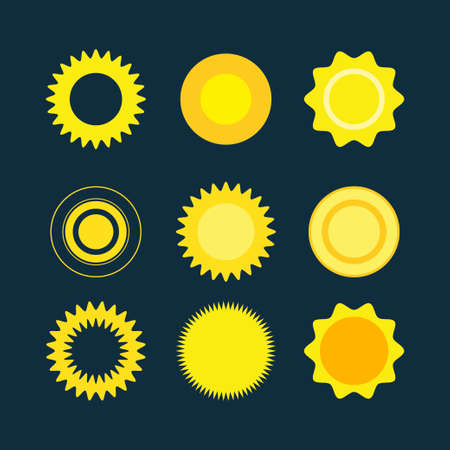 suns: Vector flat illustrations: set of suns. Vector symbols. Collection icon for web. Illustration