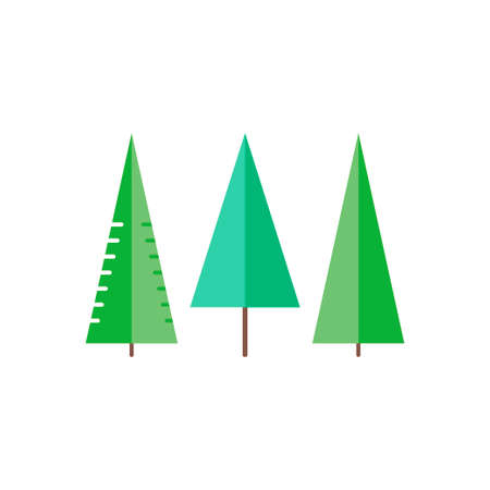 firtree: Trees in flat style - spruce, fir-tree, pine. Set icons. Vector illustration