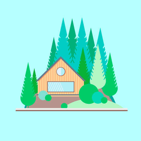 blockhouse: Wooden house in the woods Illustration