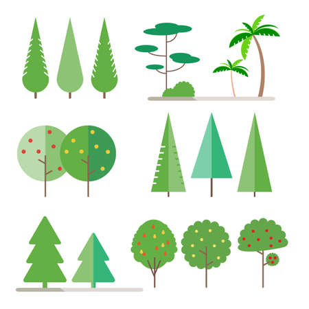 Set trees in flat style - spruce, fir-tree, pine, apple, pear, Palm tree. Bush. Vector illustration Illustration