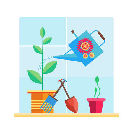 Garden on the windowsill plant, watering can, pots, sprout, shovel,rake. Illustration in the style of flat.