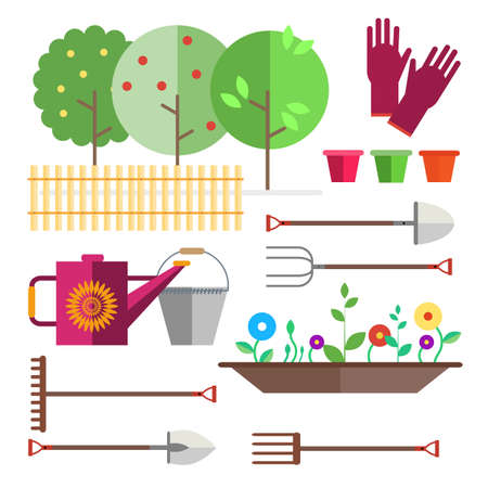 Fruit garden, fence. Seedlings flowers, shoots, sprouts. Gardening tool