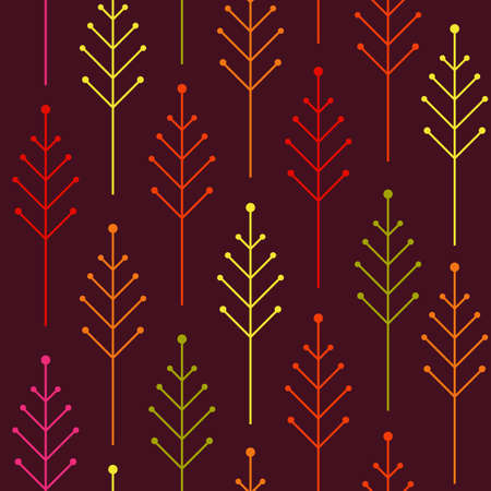 Seamless autumn pattern with colorful abstract tree on the dark background. Vector. Illustration