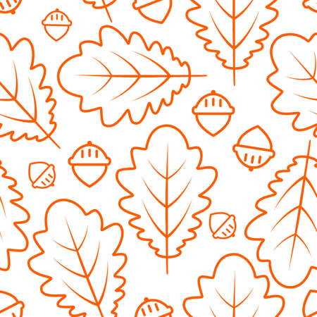 Autumn seamless pattern with oak leaves and acorns. Contour stylized drawing over white background. Vector