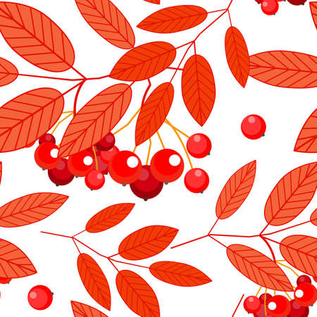 Berries and red leaves pattern.