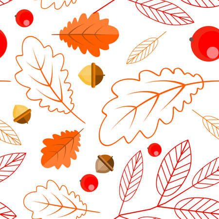 Seamless pattern of oak leaves, leaves and Rowan berries, acorns. Botanical pattern on a white background. Autumn Illustration