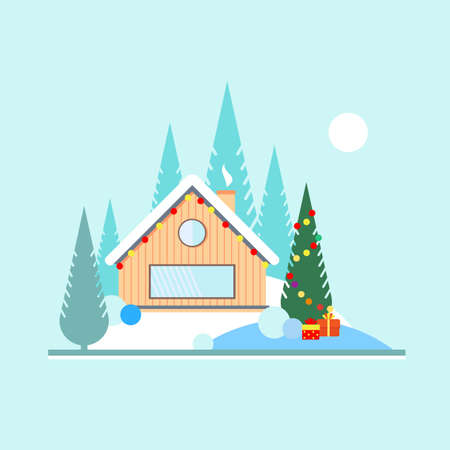blockhouse: Christmas and new year in the forest. Christmas tree with toys outdoors. Wooden house with a garland in the woods on the edge of the forest. Landscape in flat style. Illustration