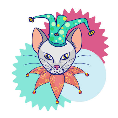 animal idiot: Head cat in the hat jester. Circus cat. Abstract illustration on colorful background. Vector Illustration