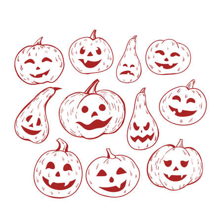 Large set of isolated pumpkin Halloween. Hand-drawn illustration, vector illustration.