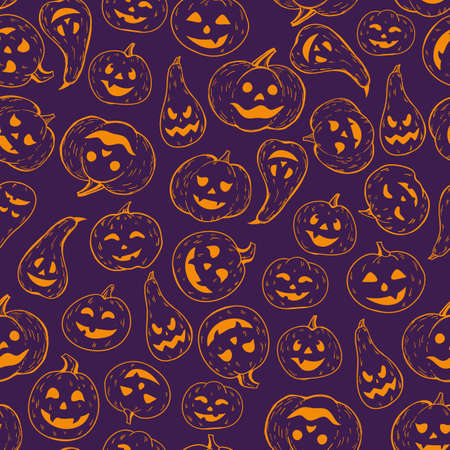 A seamless Halloween pattern. Background of contour orange pumpkins on a dark.