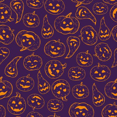 A seamless Halloween pattern. Background of contour orange pumpkins on a dark.