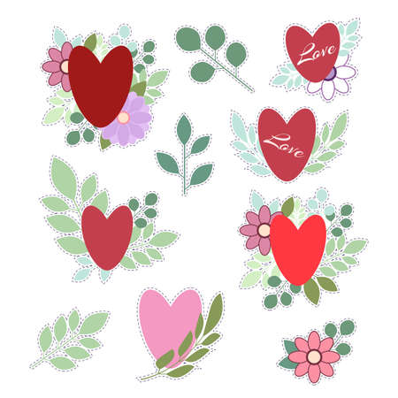 Set of stickers for Valentines day. Isolated on white background. Heart on the background of flowers and leaves. Vector illustration.