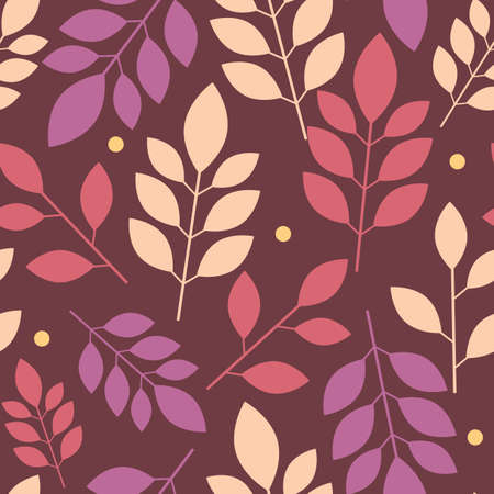 Seamless floral pattern of multicolored leaves on Burgundy background.