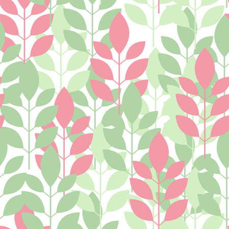 Seamless plant pattern of leaves, shoots colored Illustration.