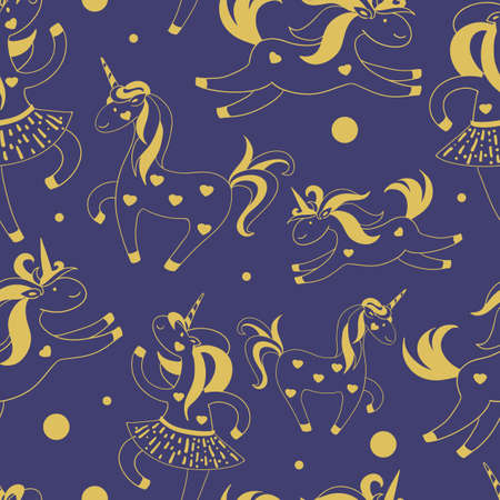 Golden Seamless pattern of cute cartoon unicorns, hearts, circles on a blue background. Vector illustration.