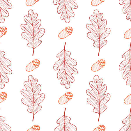 Seamless background of oak leaves and acorns. Symmetrical pattern. Autumn line drawing. Vector