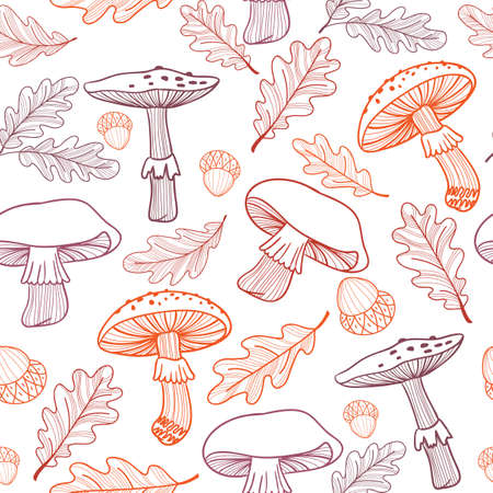 Seamless pattern of mushrooms, fly agarics, acorns and oak leaves. Hand-drawn. Linear illustration. Stock fotó