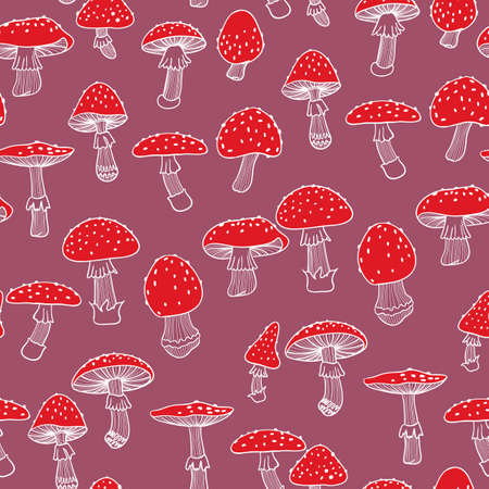 Seamless pattern of fly agarics. Hand-drawn background. Doodle illustration