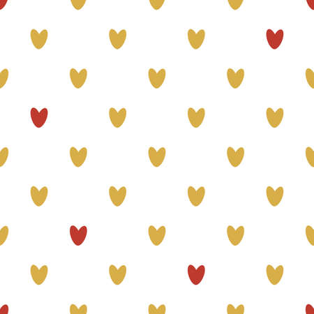 Seamless pattern of gold and red hearts. Background for wrapping paper. Vector.