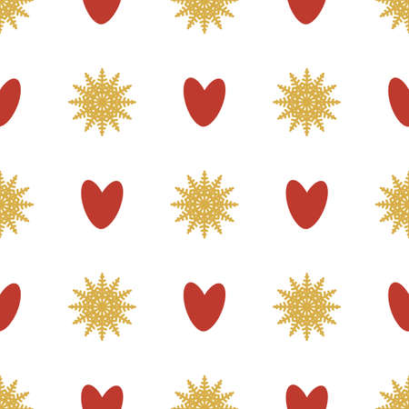 Seamless pattern of snowflakes and hearts. Symmetrical background for wrapping paper. Vector.