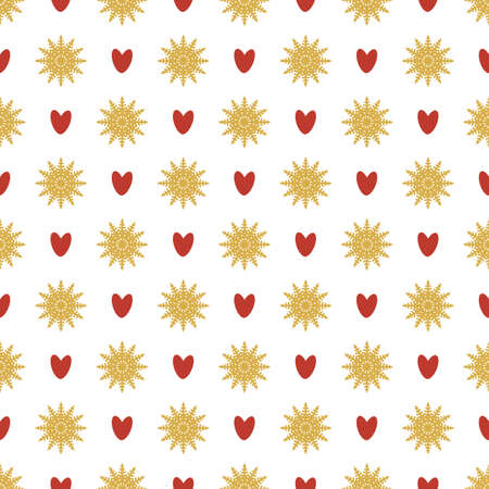 Seamless pattern of snowflakes and hearts. Symmetrical background for wrapping paper.