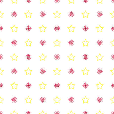 Christmas seamless symmetrical pattern of snowflakes with stars. Background for wrapping paper. Vector Illusztráció
