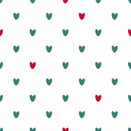 Seamless pattern of red and blue hearts. Background for wrapping paper. Vector