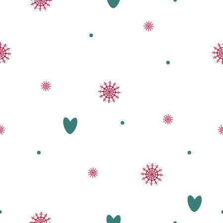 Seamless pattern of snowflakes, hearts, circles and dots. Background for wrapping paper. Vector Illusztráció