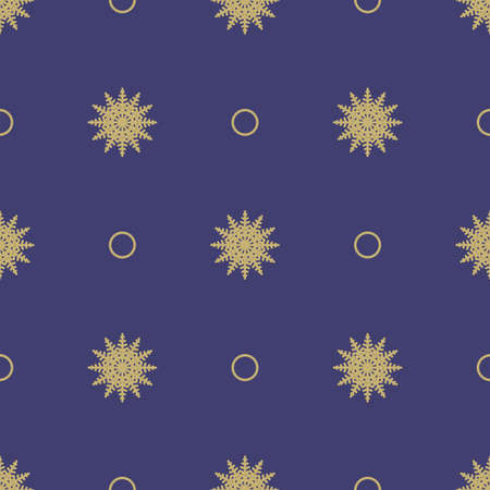 Christmas seamless symmetrical pattern of snowflakes with circles on a blue background. Background for wrapping paper. Vector Illusztráció