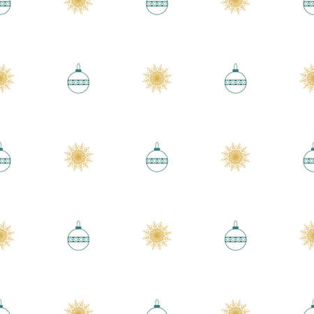 Christmas seamless symmetrical pattern of snowflakes with Christmas toys. Background for wrapping paper. Vector Illusztráció