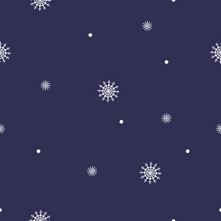 Seamless pattern of snowflakes, circles and dots on blue background. Background for wrapping paper. Vector