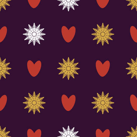 Seamless pattern of snowflakes and hearts. Background for wrapping paper. Vector