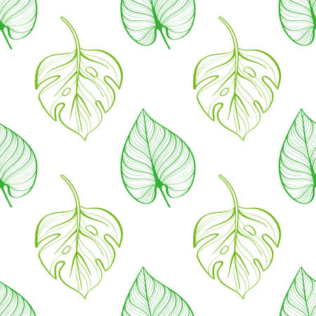 Seamless pattern of tropical leaves on light background. Hand-drawn line drawing. Summer pattern of silhouettes Illusztráció