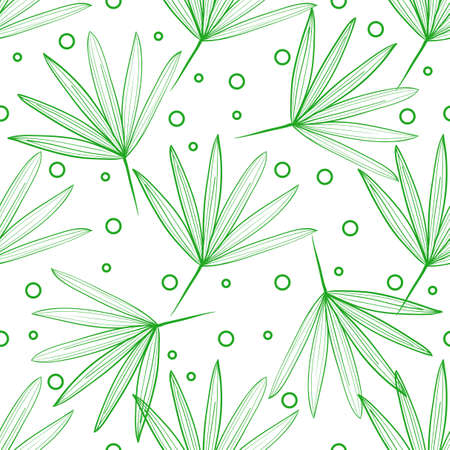 Seamless pattern of tropical leaves on a light background with dots and circles. Hand-drawn line drawing. Summer pattern